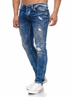 Tazzio Herren Jeans Slim Fit im Destroyed Look 17502