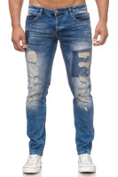 Tazzio Herren Jeans Regular Fit im Destroyed Look 17507